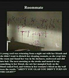 Creepypasta picture-stories Roommate - Horror/creepy short stories- This is a scene from a show- Supernatural Short Creepy Stories, Spooky Stories, Ghost Stories, Creepy Pasta Stories, Short Horror Stories, Creepy Facts, Fun Facts, Random Facts, Paranormal