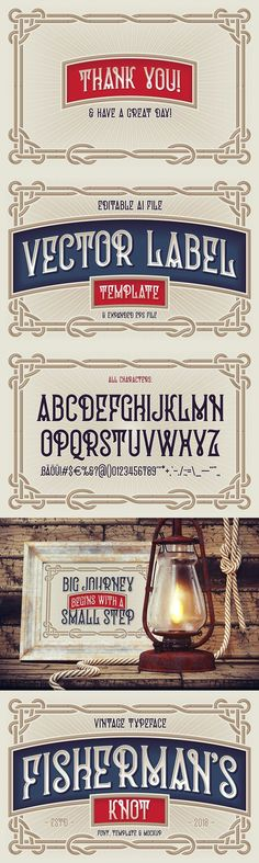 """Presenting a vintage typeface named """"Fisherman's Knot"""". It's style inspired by boating knots and old graphics heridage. Fisherman's Knot, Ttf Fonts, Gothic Fonts, Label Templates, Modern Graphic Design, Oil Lamps, Knots, Graphics, Vintage"""