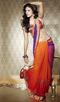 Price : 9600 INR;   Product Code : G3-LS7286;   Product Name : Dark Orange Purple Net Embroidered Wedding Saree