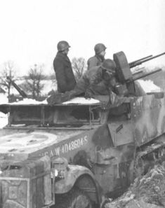 A halftrack sporting quad 50s during the Battle of the Bulge.