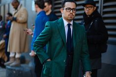 Dark green coat.  NYFW: Men's AW16 Day 2 — Men's Fashion Post