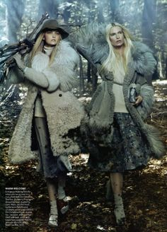 Universal Coverage | Steven Meisel #photography | Vogue US  : ALL IN A DAYS WORK. Ha! Let's go get some wood in the forest lookin all fabulous and shit!