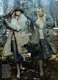 Sasha Pivovarova, Caroline Trentini & Christina Kruse in Universal Coverage by Steven Meisel | Vogue USAugust 2010