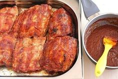 Ribs can be baked on the grill. If you bake ribs on a baking sheet, remember: on the baking sheet you can put parchment for baking or foil. Meatloaf Recipes, Pork Recipes, New Recipes, Chicken Recipes, Cooking Pork Ribs, Baked Pork Ribs, My Favorite Food, Favorite Recipes, Chicken Steak