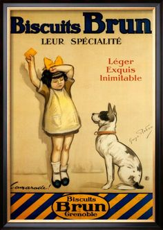 """Biscuits Brun"" made in Grenoble."" Poster by George Redon."