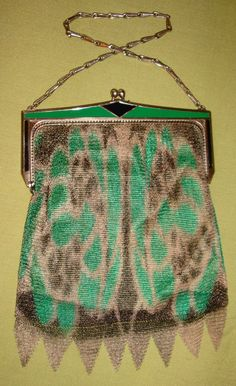 Whiting and Davis fine mesh with enamel frame purse