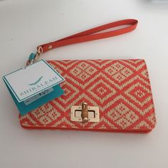 Shiraleah Chicago Wristlet Orange and tan large Wristlet. Never used. New with tags. Perfect for summer! Shiraleah Chicage  Bags Clutches & Wristlets
