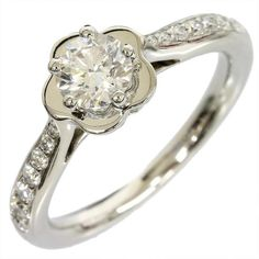 Chanel 950 Platinum Diamond Camellia Ring 4.5 With Box/Cert