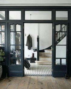 A beautiful house is not only making everyone in the house feel comfortable but also feel secure. One of the most important part of a beautiful house is the design. The design of . Read MoreDIY Double Doors a.a French Doors Ideas Vintage Tile, Style Vintage, Finding A House, Architecture, French Doors, Interior And Exterior, Interior Design, Black Trim Interior, French Interior