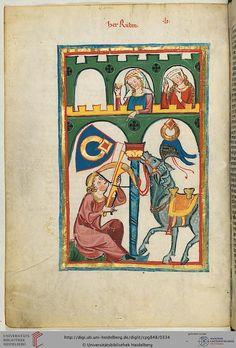 "1304 Zurich: ""Herr Rubin"" poet/minnesinger of mid-1250's (fol. 169v) from The Manesse Codex (medieval poetry songbook) UB Heidelberg (UBH Codex Palatinate Germanische 848)."