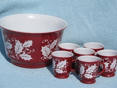 christmas holly glass punch bowl and cups cranberry red and white vintage christmas porcelain