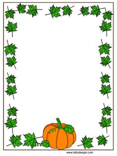 Cornicetta Autunno - Zucca con foglie Halloween Frames, Halloween Cards, Borders For Paper, Borders And Frames, Diy Note Pad, Little Pumpkin Party, Boarder Designs, Printable Frames, Page Borders