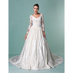 Ball Gown V-neck Long Sleeves Chapel Train Satin Wedding Dress – USD $ 247.99