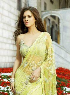 Sheer yellow sari with Jardoshi handiwork & awesome blouse
