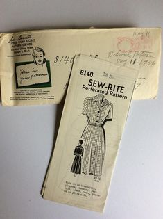 Vintage 50s Sew-Rite Sewing Pattern 8140 - Bust 38 inches Vintage Dress Sewing Pattern - Vintage Shirtwaister Dress