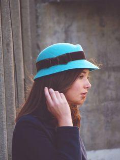 Blue wool felt hat winter felt hat for women by AnedeCocoMillinery