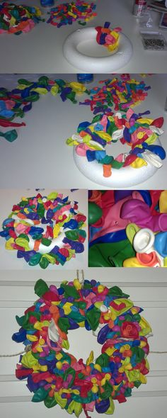 How do you make a birthday wreath? Balloon Wreath, Balloon Crafts, Balloon Decorations, Party Planning, Party Time, Diy And Crafts, Balloons, Projects To Try, Birthdays