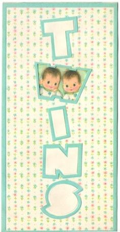 Vintage Greeting Card New Baby Twins