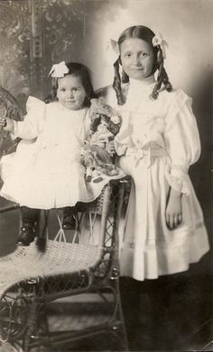 vintage photo Little Ringlet Girls & Doll RPPC by maclancy on Etsy