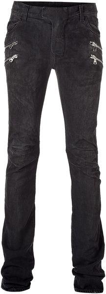 Balmain - Vintage Black Denim Zip Biker Pants for Men - Lyst Two Store, Biker Pants, High Fashion, Mens Fashion, Guy Style, Consignment Shops, Black Denim, Vintage Black, Balmain