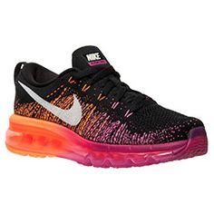 Women's Nike Flyknit Air Max Running Shoes| FinishLine.com | Black/Bright Magenta/Atomic Orange