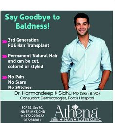 Say Goodbye to Baldness! >3rd Generation FUE Hair Transplant >Permanent Natural Hair and can be cut,colored or styled >No Pain,No Scars,No Stitches