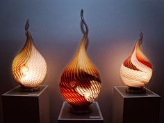Three different lightobjects with unique design and made by a special glassblowing technique. Glass lives by light. Light Art, Glass Art, Unique, Design, Home Decor, Decoration Home, Room Decor, Home Interior Design