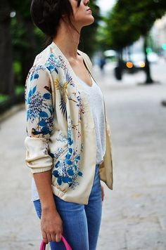 printed silk cardi with jeans