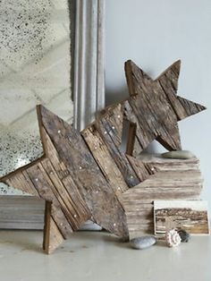 Rustic Reclaimed Wooden Stars - clever use for salvaged wood - via Nordic House Pallet Crafts, Pallet Art, Wood Crafts, Diy Pallet, Into The Woods, Rustic Christmas, Christmas Crafts, Christmas Stars, Xmas