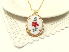 Amy, Red flower pendant, hand embroidered, necklace.