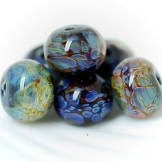 Lampwork borosilicate glass beads set Earthrise etsy.com/shop/Juliyamrboro