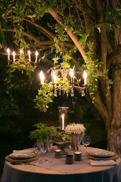 .Outdoor, intimate dinner setting.