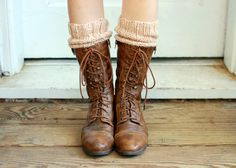 Beige Wool Knitted Boot Cuffs Slouchy Knit Boot Toppers by adknit, $25.00