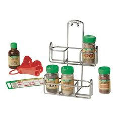 Buy Lets Play House - Baking Spices Set at Mighty Ape NZ. Spice up playtime with these realistic baking spices! The sturdy metal caddy, which can hang or stand, holds four ground spice jars, a vanilla extrac. Spice Set, Spice Jars, Lets Play, Pretend Play, Pretend Food, Games For Kids, Diy For Kids, Play Food Set, Baking Set