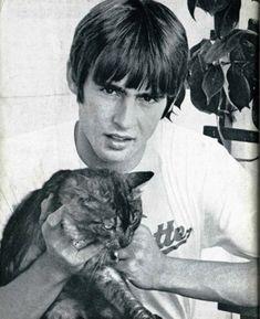 Davy Jones with a cat.