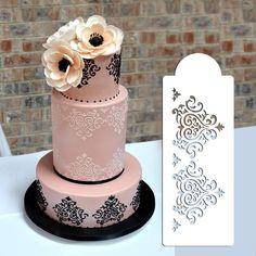 """3.5""""H x 9.75""""W Elaine's Cake Stencil Set#2 , Cake Border Kitchen Accessories Decoration, Cake Side Design Stencil"""