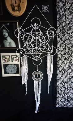 White Metatron's Cube Dream Catcher by Aurvgon on Etsy