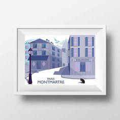 Affiche Illustration Paris  Poster Montmartre Rue Norvins