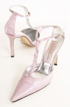Christian Lacroix Satin Lavender Pointed toe pumps with twisted T-strap.