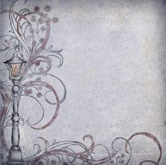 Papel imprimible estilo antiguo tonos grises con un farol de detalle