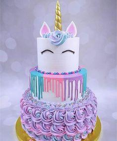 Diy Unicorn Cake, Unicorn Cake Pops, Unicorn Rainbow Cake, How To Make A Unicorn Cake, Rainbow Cakes, Cute Birthday Cakes, Unicorn Birthday Parties, Birthday Kids, Unicorn Party