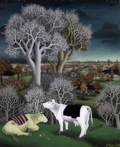 Ivan Generalic (Croatian, 1914 - 1992) Cows in a Landscape