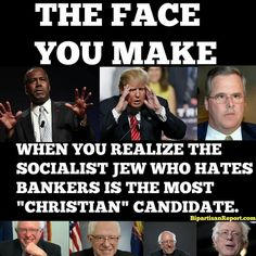 "This couldn't be more true.  Of course, Jesus was Jewish, but aside from that, Bernie is the candidate who has the most compassion for the weak, and has worked his whole life to fight for the rights of the ""least of these"".  The right-wing ""Christians"" would disavow the Jesus of the Bible if He were here today, since they have already completely disavowed His teachings."