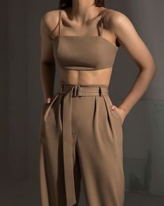 nude co-ord fashion outfit - Women's fashion interests Retro Outfits, Cute Casual Outfits, Stylish Outfits, Vintage Outfits, Stylish Eve, Modest Outfits, Look Fashion, Korean Fashion, Fashion Outfits