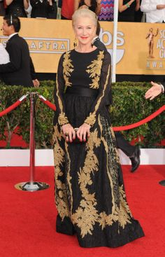 Helen Mirren is perfection here. Love the black/gold combo with red nails and lips, plus her gown is so chic!