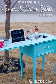 DIY Cooler and Drink Table repurposed from old sewing table. Didn't you have a sewing table? Old Sewing Machine Table, Old Sewing Tables, Sewing Desk, Old Sewing Machines, Sewing Cabinet, Sewing Spaces, Sewing Rooms, Furniture Projects, Furniture Makeover