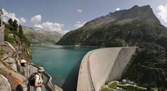 This is the Zillergründl reservoir, one of five reservoirs in the Zillertal, Tyrol, Autria.  The wall is 186m high, 506m long and is locate at 1850m above sea level.  The foto is composed of three single shots.