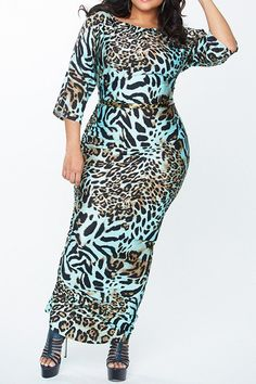 Fashionable Boat Neck 3/4 Sleeve Leopard Printed Bodycon Maxi Dress For Women