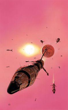 Fabulosas ilustraciones de Peter Elson sobre mundos donde lo futurista y lo retro se encuentran!Lamentablemente sólo estuvo entre nosotros cincuenta años (1947-1998), pero su obra, casi en su t