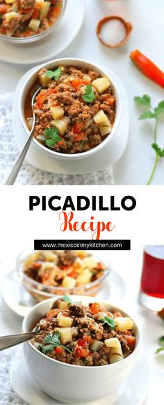 Picadillo Recipe - Ground beef and potatoes cooked in a tomato sauce is a dish known as picadillo sencillo, or carne molida con papas. Authentic Mexican Recipes, Mexican Food Recipes, Dinner Recipes, Breakfast Recipes, Spanish Recipes, Kitchen Recipes, Cooking Recipes, Healthy Recipes, Healthy Food